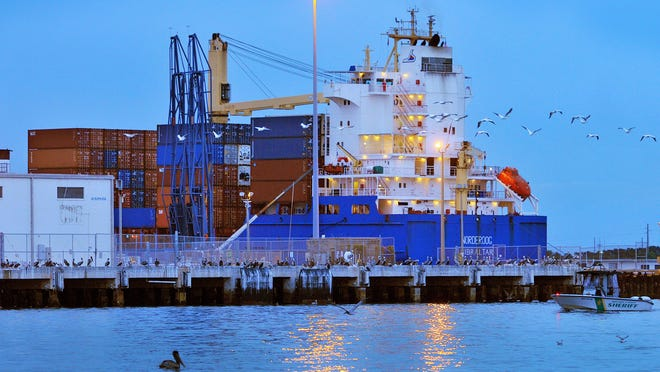 The cargo ship M.V. Norderoog fuels before unloading cargo containers at Port Canaveral earlier this year.