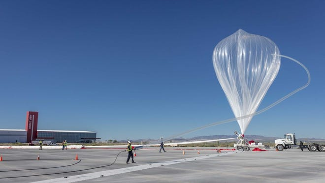 A World View Stratolite high-altitude balloon is readied for launch from Spaceport Tucson on Oct. 1.