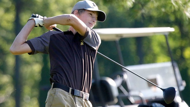 Waynedale's Ean Miller hits a tee shot during the Simonson Invitational on Thursday at Brookside Golf Course.