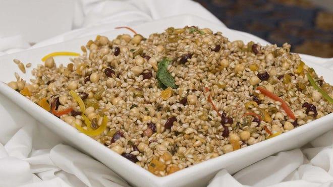 Farro Dried Fruit Garbanzo Salad.
