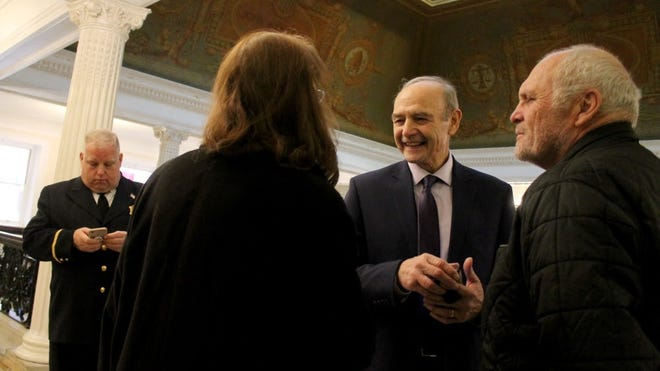 Former Speaker Sal DiMasi was back at the Statehouse in December 2018, two years after his compassionate release from federal prison, to hear farewell speeches from departing House members.
