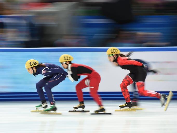 Short track speed skating action