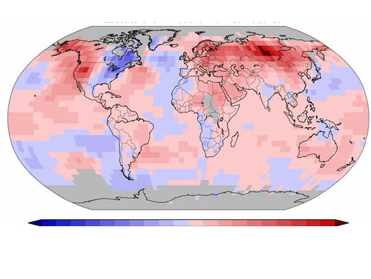 Global temperatures for December-January. Areas in