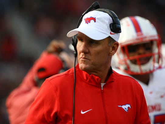 Southern Methodist Mustangs head coach Chad Morris