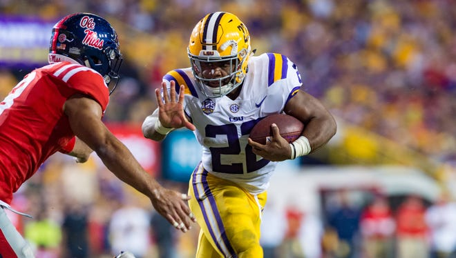 Tigers runningback Clyde Edwards-Helaire runs the ball as LSU takes on Ole Miss at Tiger Stadium. Saturday, Sept. 29, 2018.