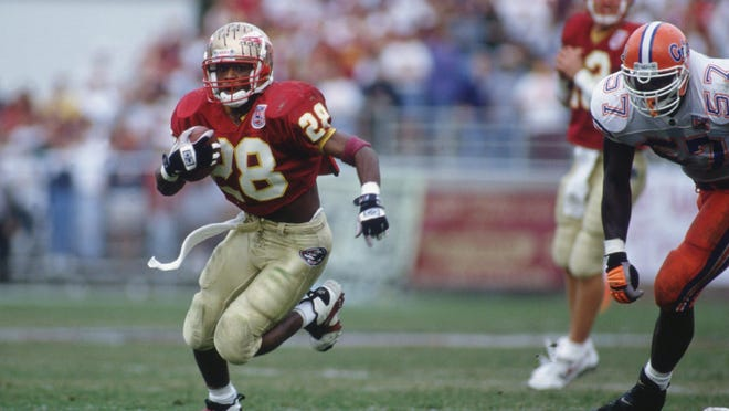 Warrick Dunn played at Florida State for four seasons (1993-96) and set the career rushing mark.