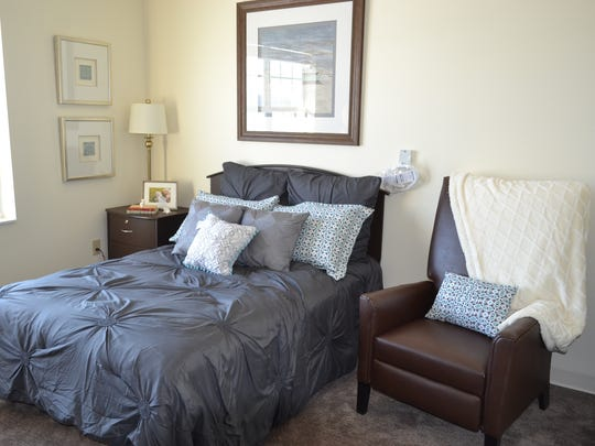 The Assisted Living studio apartments at the soon-to-open Valley View Health Campus come fully furnished, but residents are welcome to bring their own furniture instead. Each room features a kitchenette, private bath and in-room heating and cooling unit.