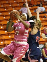 UTEP's Sparkle Taylor sinks a two-pointer against Florida