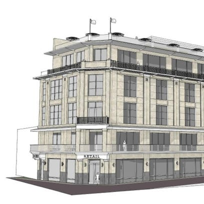 A rendering of the proposed five story mixed-use building
