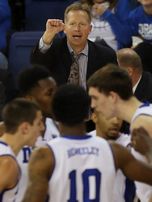 Drake coach Ray Giacoletti and the Bulldogs face Iowa on Saturday.