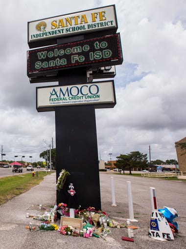 A memorial for the victims of the Santa Fe High School shooting is pictured on May 20, 2018, in Santa Fe, Texas.