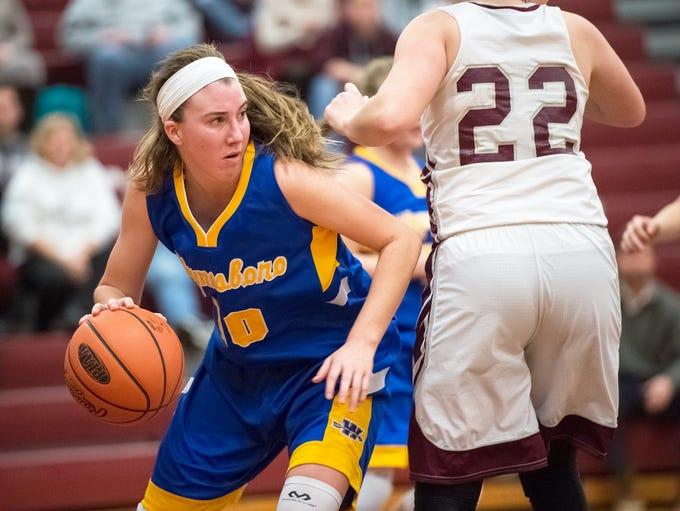Waynesboro's Olivia Gardenhour (10) dribbles the ball