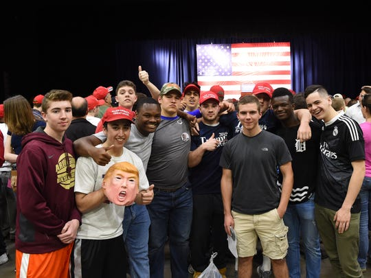 The crowd inside the Donald Trump rally at the Mid-Hudson Civic Center on Sunday.