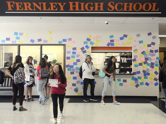 Students fill the foyer of Fernley High School.