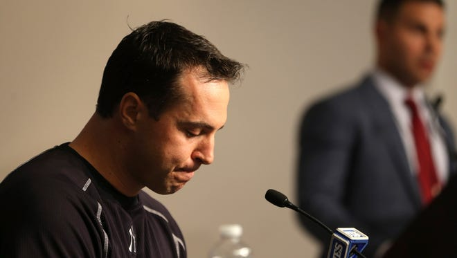 New York Yankees Mark Teixeira becomes emotional while talking to reporters before a game against the Cleveland Indians at Yankee Stadium in New York, Friday, Aug. 5, 2016. Teixeira plans to retire at the end of the season, announcing his decision during a tear-filled news conference Friday at Yankee Stadium.