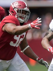 Alabama defensive lineman Quinnen Williams (92) during