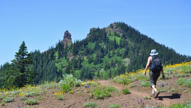A hiker takes the Iron Mountain loop trail to Cone Peak.