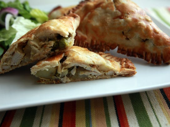 Thanksgiving leftovers :Curried turkey hand pies,prepared