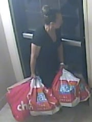 El Paso Police Department officials are looking for a woman accused of stealing more than $5,000 worth of items from a hotel, store and restaurant.