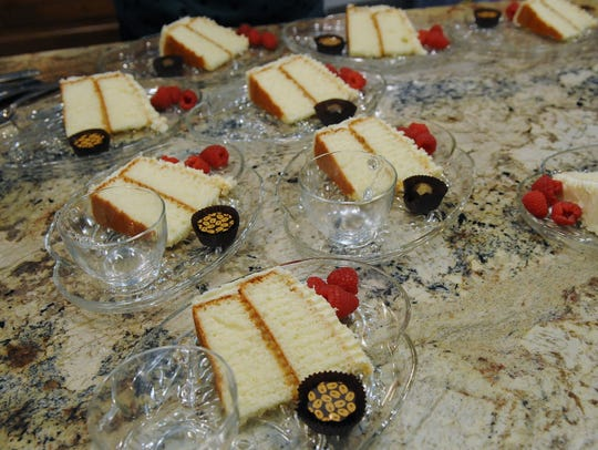 Dessert—Lemon Lovers' White Chocolate Cake--is plated