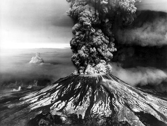 An aerial view of the eruption of Mount St. Helens,