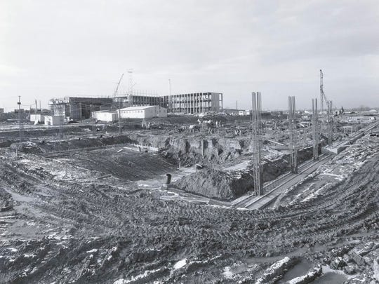 Construction begins on RIT's new arena in 1965.