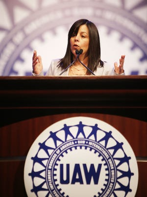 UAW Vice President  Cindy Estrada delivers her speech during day two of the 2015 Special Bargaining Convention at Cobo Center in downtown Detroit Wednesday.