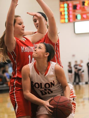 Solon's Sophie Nicol takes aim at the hoop during the Spartans' game against Maquoketa on Tuesday, Jan. 12, 2016.