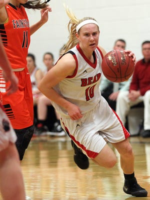 West Branch's Tatum Koenig drives to the hoop during the Bears' game against Fairfield at West Branch on Monday, Dec. 14, 2015.