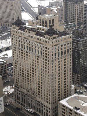 The Westin Book Cadillac Hotel is seen from the top of the Penobscot Building in downtown Detroit on Wednesday February 11, 2015.
