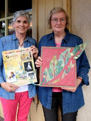 From left, Sue Morris and Lois Parker show off art Parker created for the Westminster Festival of Fine Art.