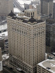 The Westin Book Cadillac Hotel is seen from the top of the Penobscot Building in downtown Detroit in February 2015.
