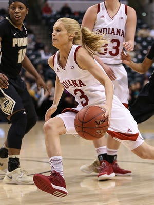 Indiana Hoosiers guard Tyra Buss (3) drives toward the basket during second half action between Indiana and Purdue in the Big Ten women's basketball tournament at Banker's Life Fieldhouse, Indianapolis, Friday afternoon, March 3, 2017. Purdue came back from a 15-point halftime deficit to defeat Indiana, 66-60.