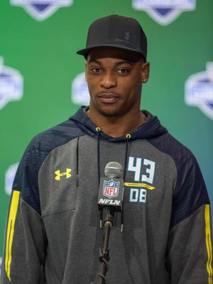 Mar 5, 2017; Indianapolis, IN, USA; Former Michigan State free safety Montae Nicholson speaks to the media during the 2017 combine at Indiana Convention Center.