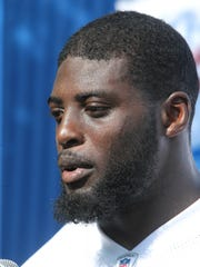 Lions linebacker Jarrad Davis talks with reporters after practice Monday, July 31, 2017, at the practice facility in Allen Park.
