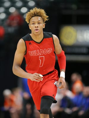 New Albany guard Romeo Langford (1) heads down court during a game against Silver Creek on Basketball Day Indiana at Bankers Life Fieldhouse on Saturday, Jan. 6, 2018. New Albany beat Silver Creek 65 to 72.