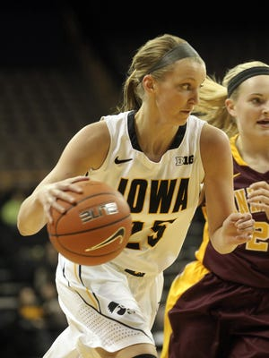 Iowa junior Kali Peschel, seen here during a 2013 game against Minnesota, has made three starts at guard this season. Both Peschel and freshman Whitney Jennings have seen time at guard for the Hawkeyes.