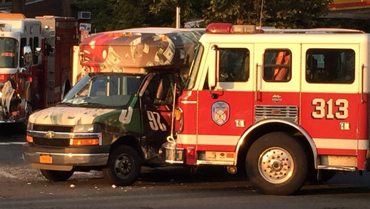An accident involving a Yonkers fire truck and a bus