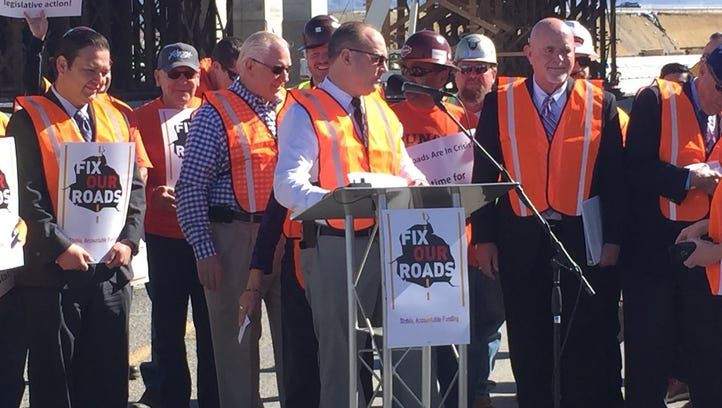 Indio Mayor Glenn Miller spoke out against $80 million in state money cut from local transportation funding for the Fix Our Roads Coalition Friday.