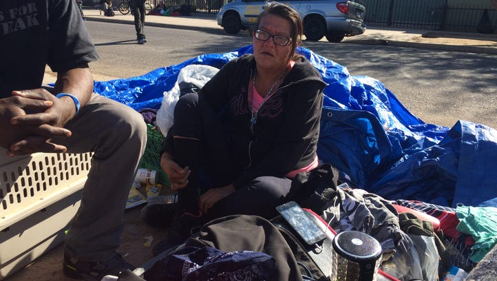 Monica Martinez camps outside a homeless shelter that