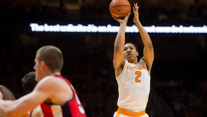Tennessee forward Grant Williams (2) takes a shot against Ole Miss on Saturday.