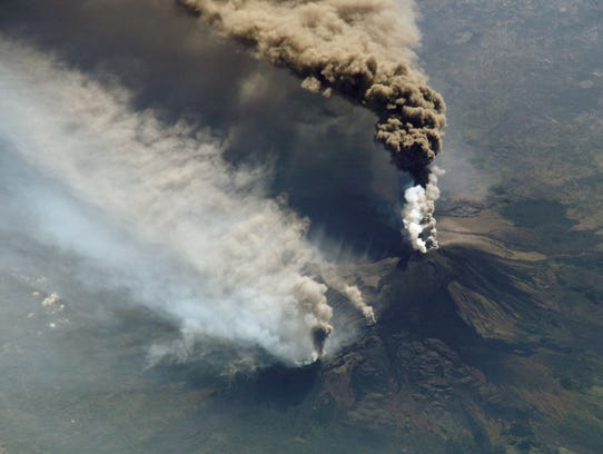 A 2002 eruption of Mt. Etna was captured by astronauts