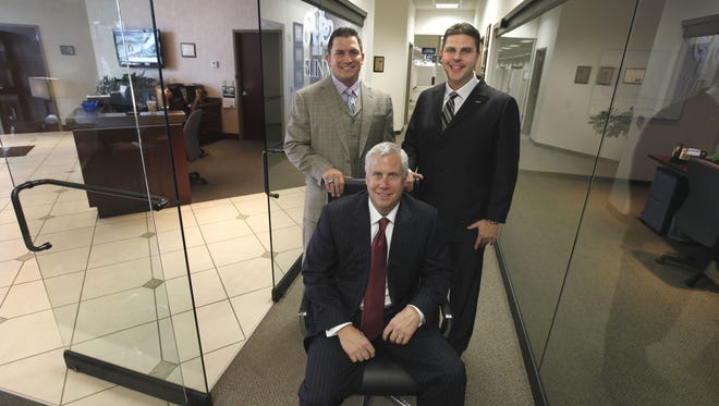 The men who admitted to tax crimes in the 5LINX case are, left, Jason Guck, Craig Jerabeck and Jeb Tyler. They are pictured here in an earlier story about the company.