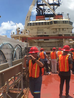 Visitors tour the CS Responder, which will lay the ATISA undersea cable system from Guam through the CNMI for Docomo Pacific, on Friday, May 5, 2017.
