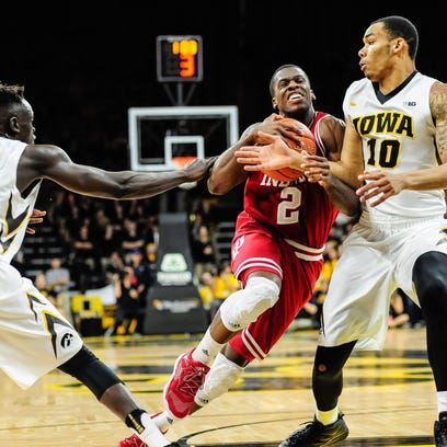 Indiana Hoosiers guard Josh Newkirk (2) goes to the