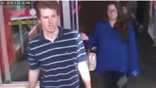 West Melbourne police are seeking a pair of suspects, pictured here walking into a Target on February 2.
