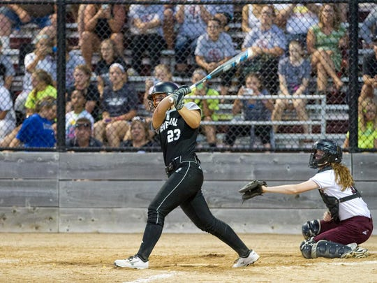 Ankeny Centennial's Kendyl Lindaman breaks the state's all-time home run record during the second game of a doubleheader on June 22 at Ankeny. She connected for a two-run blast off Olivia Brooks in the fifth inning of the Jaguars' 9-0 victory. It was the 55th homer of Lindaman's career, breaking the mark that was set previously by Jadyn Spencer of Waterloo West.