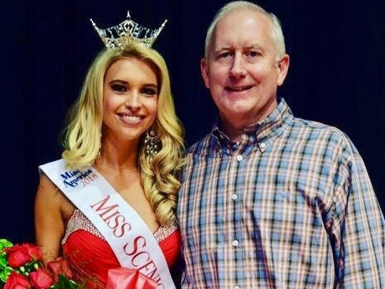 Jackson native and Miss Scenic City Meredith Maroney with her father, Steve, after Meredith had won the crown to qualify for Miss Tennessee.