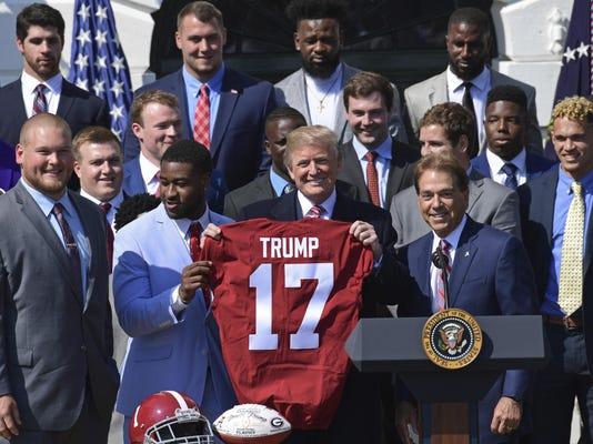 Donald Trump, Nick Saban, Rashaan evans Bradley Bozeman