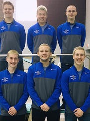 South Lyon's Division 1 state meet contingent included (bottom row, from left):  Logan Boals, Brandon Bell, Max Kempisty; (top row, from left) Max Topping, Christian Etnyre and James Perry.